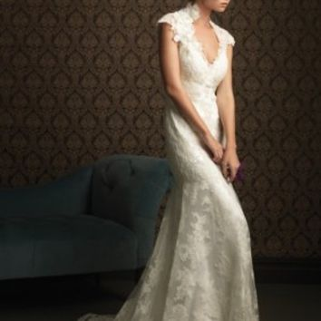 A-Line V-neck Flower Charmeuse Chapel Train Wedding Dress at Dresseshop