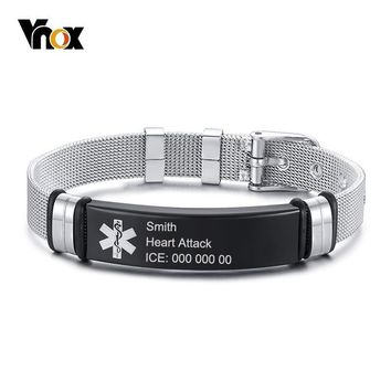 Vnox Free Personalize Medical Alert ID Bracelets for Men Women Black Stainless Steel Bangle Mesh Band Emergency Jewelry