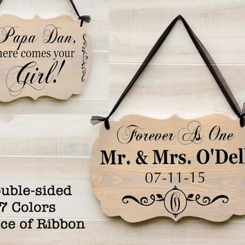 Personalized Double Two Sided wedding wood sign 7 colors. Mr. and Mrs., Ring Bearer Sign, Monogram Design, Country Rustic Wedding Decor