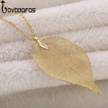 LOVBEAFAS 2017 Fashion Maxi Necklace Women Fine Jewelry Long Chain Pendant Necklace Collar Real Natural Leaf Necklace
