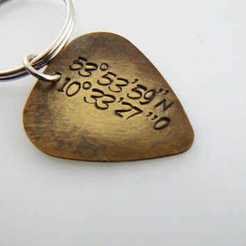 Guitar Pick Keychain , GPS Coordinates , Custom , Hand Stamped , Key chain, friend gift, Key Ring, Personalized