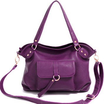 Fashionista Purple Leather Shoulder Bag. Leather Tote. Genuine Leather Handbag. MADE-TO-ORDER