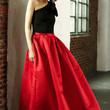 Red and Black One Shoulder Pleated Maxi Dress