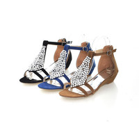 Beads Buckle T Strap Wedges Sandals Women Shoes 2093