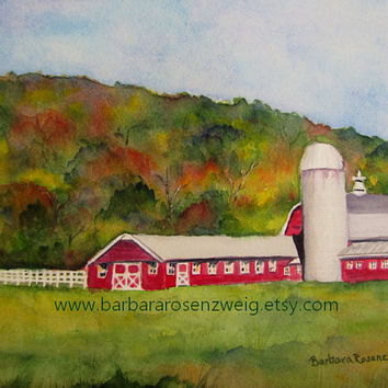 Original Farm Painting, Red Barn Watercolor Painting, Farm Original Painting Art, Autumn, Wall Art Home Decor, Art Gift, Barbara Rosenzweig