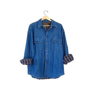 Vintage denim  lined flannel shirt. mens large work shirt. dark wash jean jacket shirt. insulated jean shirt.