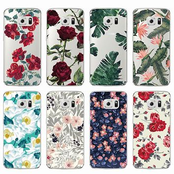 Fashion Vintage Floral Rose Flower Soft Clear TPU Phone Case Cover Coque Fundas For Samsung Galaxy J5 A5 S6 S7 Edge S8