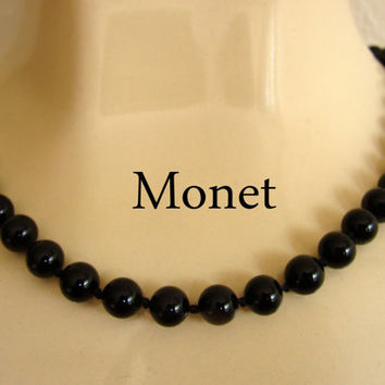 Vintage MONET Black Glass Hand Knotted Bead Choker Necklace / Designer Signed / Jewelry / Jewellery