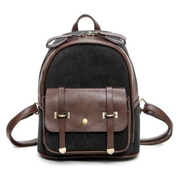 Vintage Women Casual Mini Leather Daypacks Canvas Backpacks School Bag For Teenagers Boys Girls Small Travel Rucksack Mochila