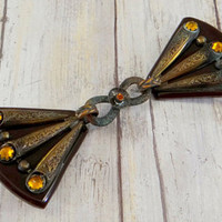 Art Nouveau Bakelite, Brass and Amber Rhinestone Belt Buckle or Cape Clasp - Edit Listing - Etsy