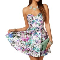 Sale-multi Color Floral Strapless Dress
