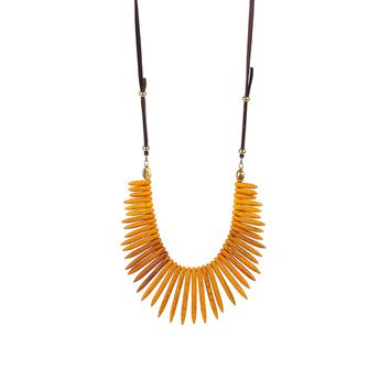 Veronica M Wooden Spike Necklace