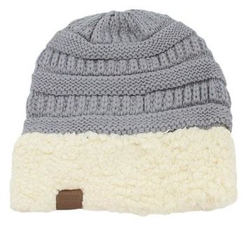 Sherpa Accent Knit Beanie