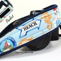 Beach dSLR Camera Strap with Pocket, Blue, Ocean, dSLR, SLR