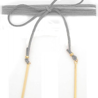 WRAP AROUND SUEDE CHOKER NECKLACE WITH METAL BAR PENDANTS - SILVER