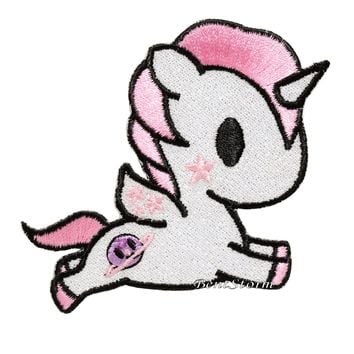 "Licensed cool Tokidoki Unicorno ""Cosmo"" Embroidered Glitter IRON ON Patch Badge Loungefly NEW"