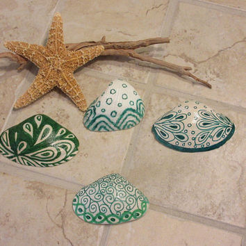 Zentangle Painted  Sea Shell Home Coastal Decor Green and White Art  Nature Tropical Beach