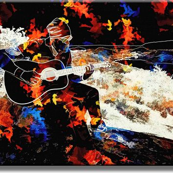 Abstract Guitar Player Picture on Acrylic , Wall Art Décor, Ready to Hang