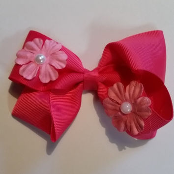 Pink Flower Bow