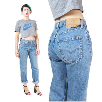 Levis 501 Jeans High Waisted Jeans Womens Boyfriend Jeans Relaxed Tapered Leg Faded Denim Minimal Grunge Mom Jeans 28 Inches (S/M)