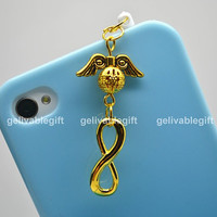 iPhone 5 4S 4 charm,3.5mm dust proof plug with harry potter golden snitch and infinity charms,fit for samsung Blackberry HTC PSHP01