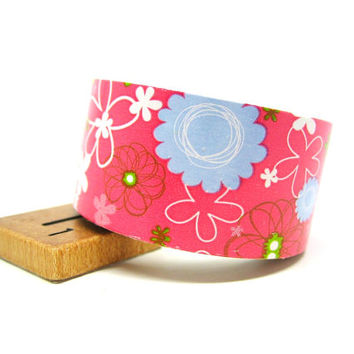 Blue and Pink Floral Spirograph Removable Decor Gift Wrap Paper Tape