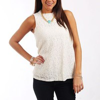 Floral Lace Tank, Ivory