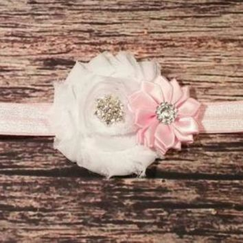 Baby Headbands / Fancy Shabby and Satin Rhinestone