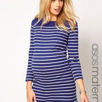 ASOS Maternity Exclusive Dress In Cotton Breton Stripe at asos.com