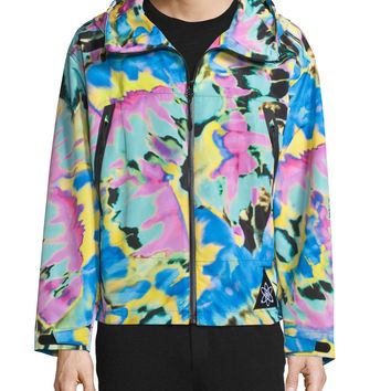 Zip-Front Long-Sleeve Jacket, Tie Dye/Multi