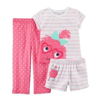 Baby Girl Carter's 3-pc. Monster Striped & Polka Dot Pajama Set | null