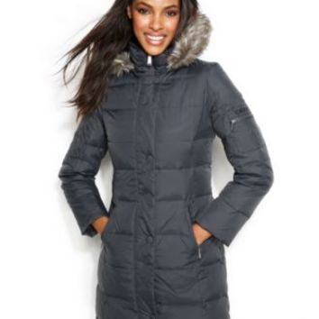 DKNY Hooded Faux-Fur-Trim Down Coat | macys.com