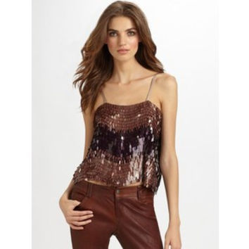 Audra Chocolate Multi Sequined Top (Alice + Olivia)