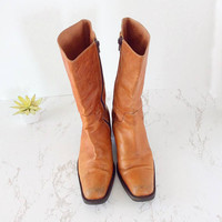 Womens cowboy boots vintage, womens cowboy boots 8, womens boots 8, midcalf boot, size 8 womens boots 38, tan leather boots woman 8