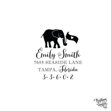 "Personalized Custom Return Address Rubber Stamp - 2""x2"" - Elephant with Flag"