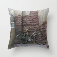 Bike Pillow Cover, Bicycle Pillow Cover, Travel Photo Pillow Case, Boho Pillow, India Pillow, Earth Tone Pillow, 16X16 Canvas Throw Pillow