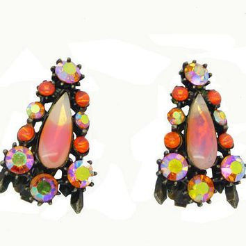Florenza Peach Givre and Orange Rhinestone Japanned Clip Earrings