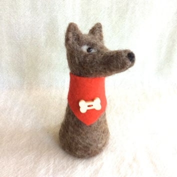 Needle felted Dog Felting Wolf animal felting dog sculpture felting unique gift one of a kind fiber art cute figurine felt doll bone OOAK