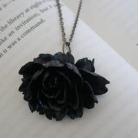 Black flower necklace- Black ruffle flower necklace- Large flower necklace- Black large flower necklace- Ruffle flower- Black flower-