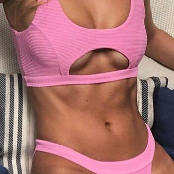 Cut Out High Leg Bikini