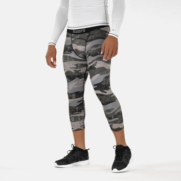 Green Camo Woodland 3/4 Tights for men