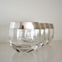 Vintage Authentic Dorothy Thorpe Roly Poly Silver Rim Drinking Glasses, Set of 4, Midcentury Glasses, 1960s Barware
