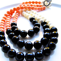 Barbara Necklace - Black Agate, Pink Coral, Mother of Pearl, Sterling Silver, Marasite