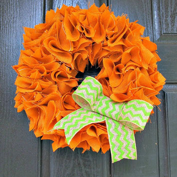 "Rust Orange Burlap Wreath with Green Chevron Bow - 16"" - Fall, Rustic, Halloween, Thanksgiving Decor"