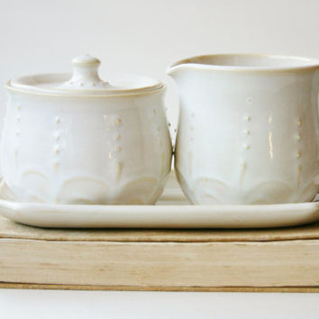 Porcelain Sugar and Creamer Set - Creamy White French Country Dinnerware
