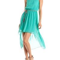 Belted Strappy Back Hi-Low Dress: Charlotte Russe