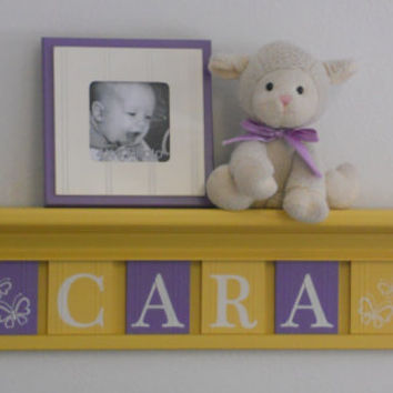 "Yellow and Purple Baby Girl Nursery Decor - Custom for CARA with Butterflies - Personalized 30"" Shelf 6 Lilac Yellow Wooden Wall Letters"