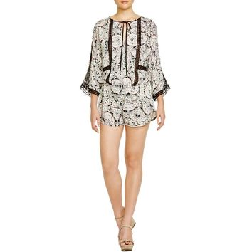 Twelfth St By Cynthia Vincent Womens Lace Inset Printed Romper
