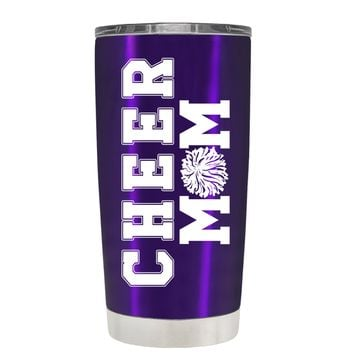 Pom Pom Cheer Mom on Translucent Purple 20 oz Tumbler Cup