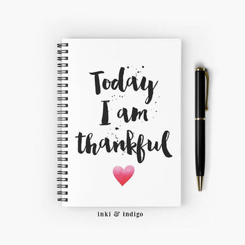 Today I Am Thankful - Spiral Notebook With Lined Paper, A5 Writing Journal, Diary, Gratitude Journal
